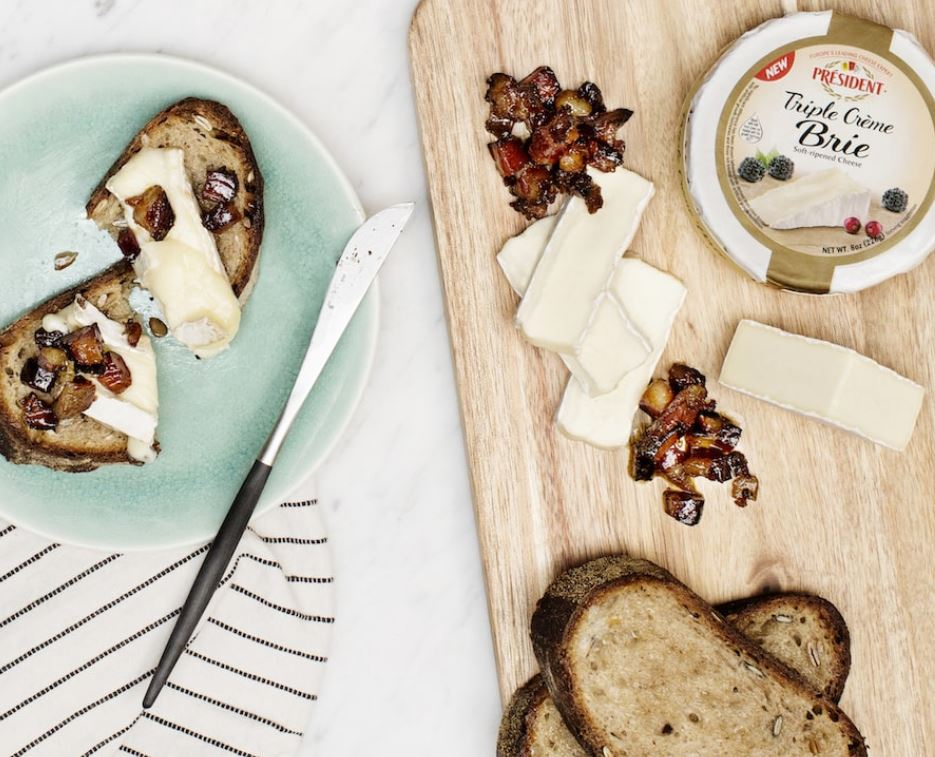 President Triple Creme Brie Candied Bacon Recipe
